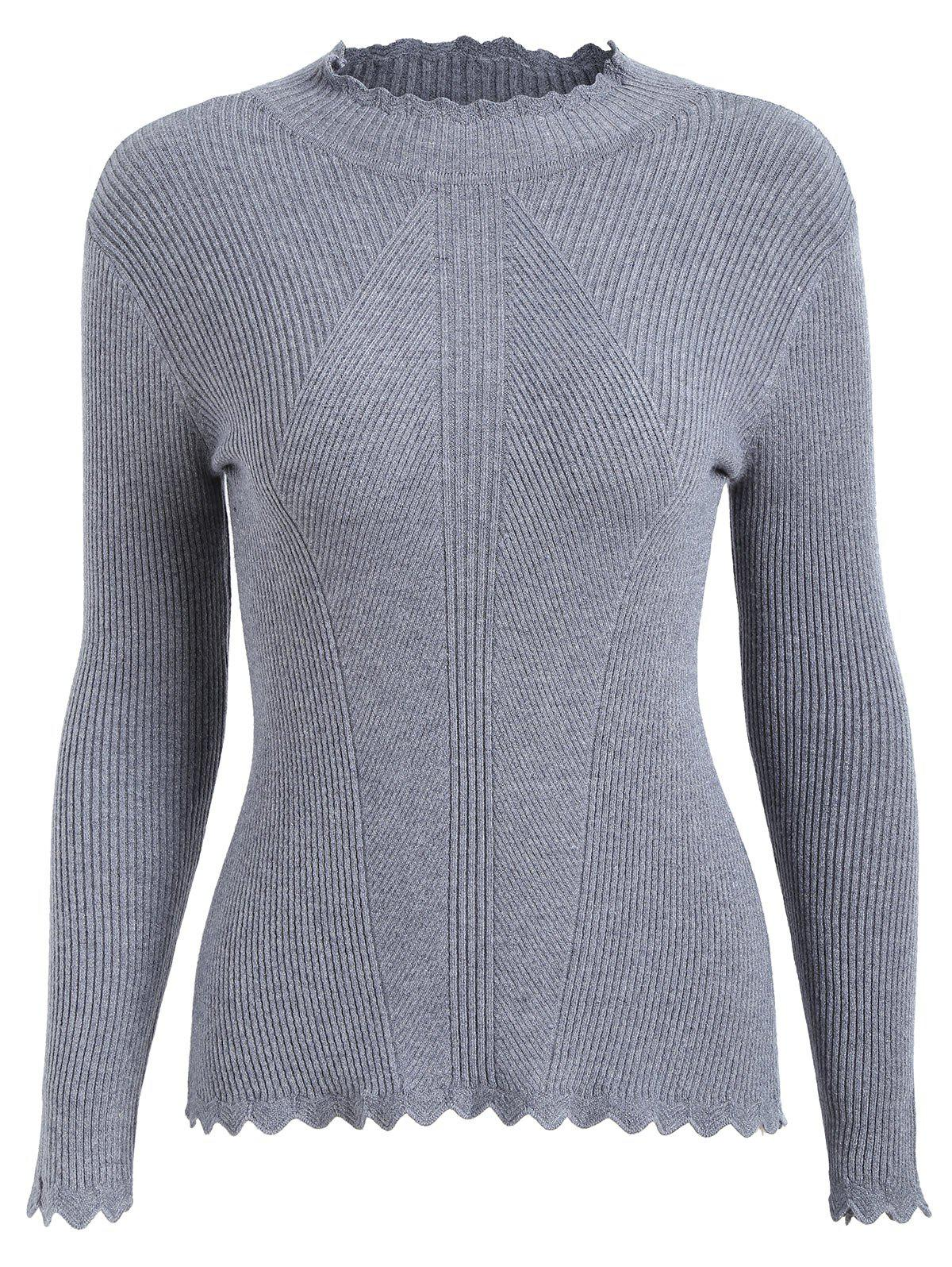 Plus Size High Neck Ribbed Knitwear 225913904