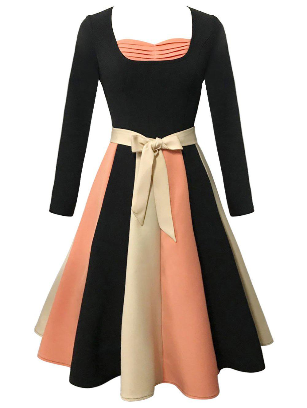 Online Vintage Long Sleeve Color Block Skater Flare Dress
