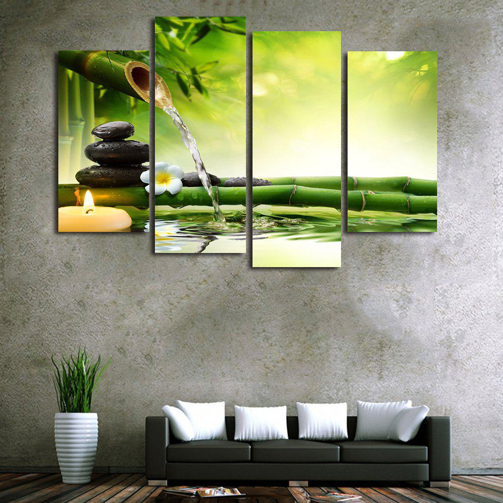 Bamboo Stream Print Unframed Split Canvas Paintings