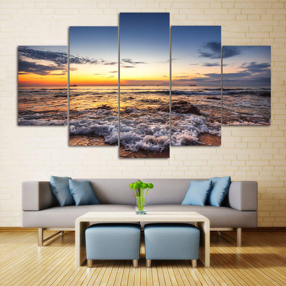 Beach Sunset Print Unframed Split Canvas PaintingsHOME<br><br>Size: 1PC:12*31,2PCS:12*16,2PCS:12*24 INCH( NO FRAME ); Color: COLORMIX; Subjects: Seascape; Features: Decorative; Hang In/Stick On: Bedrooms,Hotels,Living Rooms,Offices,Stair; Shape: Horizontal; Form: Five Panels,Four Panels; Frame: No; Material: Canvas; Package Contents: 1 x Canvas Paintings (Set);