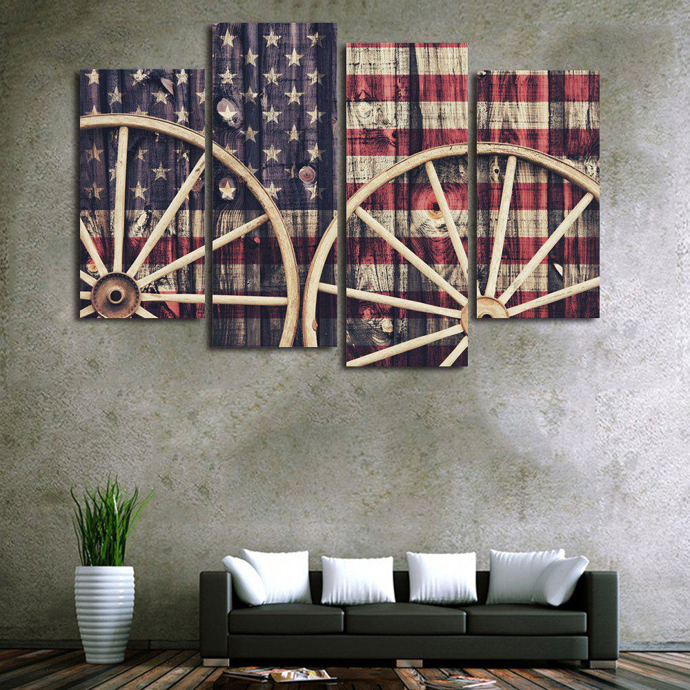 US Flag Wheel Print Unframed Split Canvas Paintings