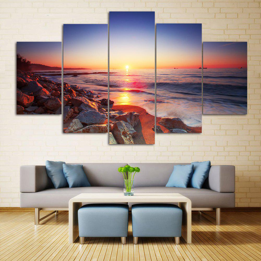 Sunset Beach Print Unframed Split Canvas PaintingsHOME<br><br>Size: 1PC:10*24,2PCS:10*16,2PCS:10*20 INCH( NO FRAME ); Color: COLORMIX; Subjects: Seascape; Features: Decorative; Hang In/Stick On: Bedrooms,Hotels,Living Rooms,Offices,Stair; Shape: Horizontal; Form: Five Panels,Four Panels; Frame: No; Material: Canvas; Package Contents: 1 x Canvas Paintings (Set);