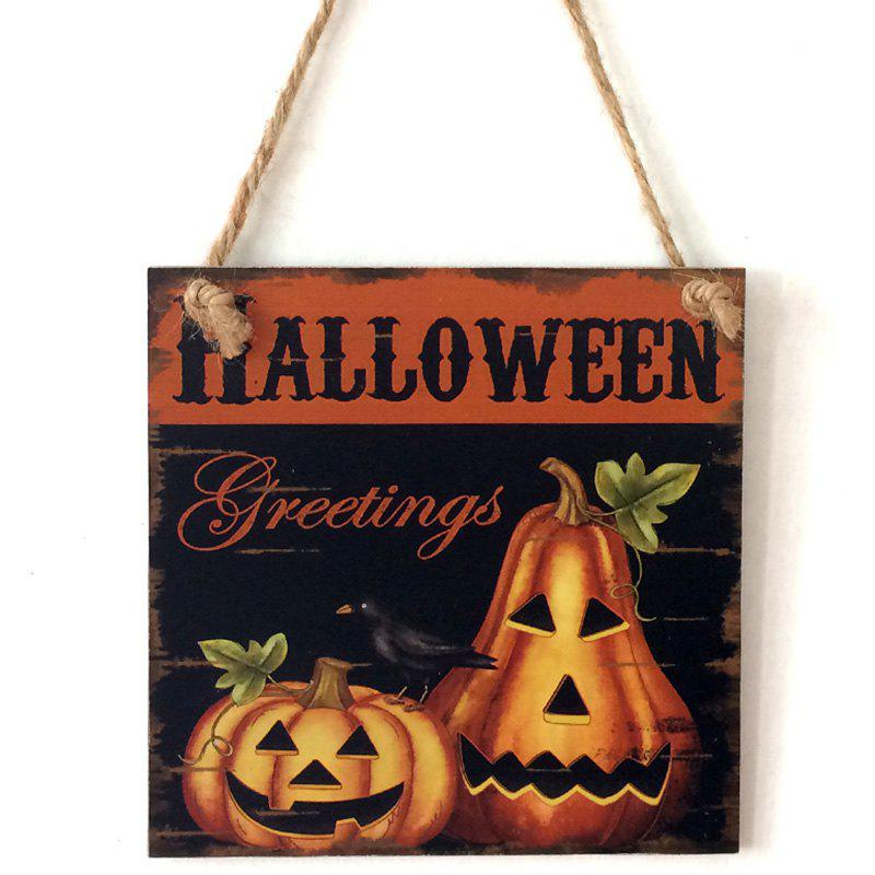 Halloween Pumpkins Pattern Door Decor Wooden Hanging SignHOME<br><br>Color: MANDARIN; Event &amp; Party Item Type: Party Decoration; Occasion: Halloween; Shape/Pattern: Pumpkin; Material: Wood; Size(CM): 15*15*0.5cm; Package Contents: 1 x Wood Sign;