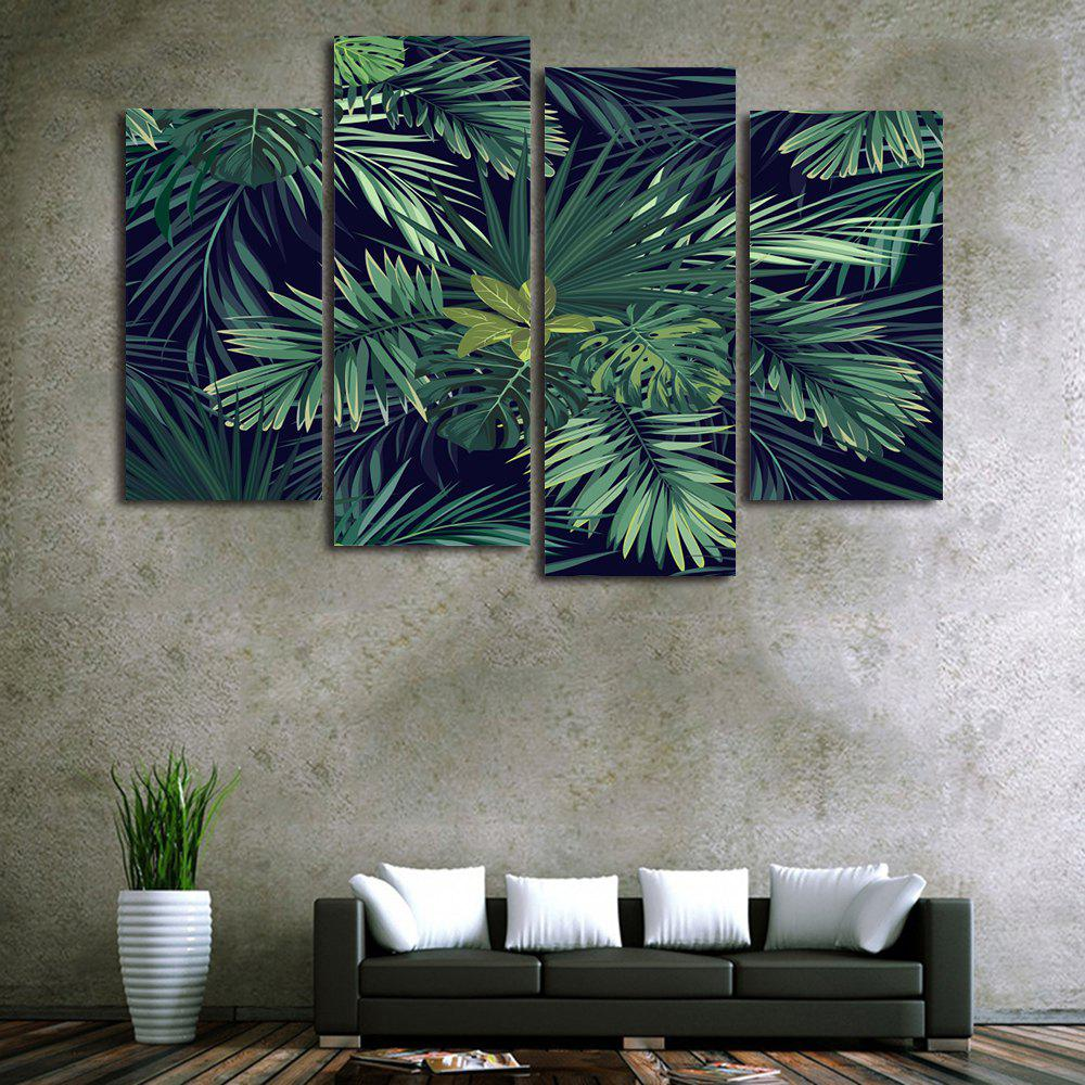 Tropical Leaves Print Unframed Split Canvas PaintingsHOME<br><br>Size: 2PCS:12*24,2PCS:12*31 INCH( NO FRAME ); Color: GREEN; Subjects: Landscape; Features: Decorative; Hang In/Stick On: Bedrooms,Hotels,Living Rooms,Offices,Stair; Shape: Horizontal; Form: Five Panels,Four Panels; Frame: No; Material: Canvas; Package Contents: 1 x Canvas Paintings (Set);