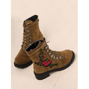 Chunky Heel Metal Floral Embroidery Ankle Boots - BROWN 39