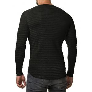 Slim Fit Ribbed Raglan Sleeve Tee - BLACK 2XL