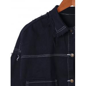 Drop Shoulder Frayed Jean Shirt Jacket -