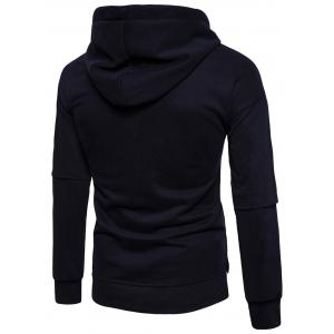 Drop Shoulder Side Slit Fleece Pullover Hoodie -