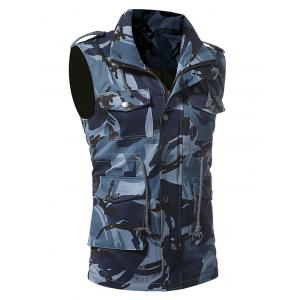 Camouflage Zip Up Fatigue Waistcoat - BLUE M