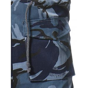 Camouflage Zip Up Fatigue Waistcoat - BLUE 3XL
