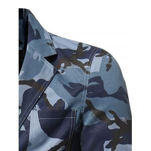 3D Camouflage Lapel Single Breasted Blazer - BLUE M