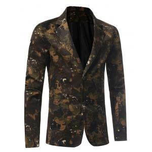 3D Camouflage Lapel Single Breasted Blazer - GREEN XL