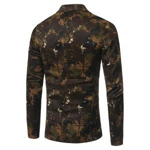 3D Camouflage Lapel Single Breasted Blazer - GREEN L