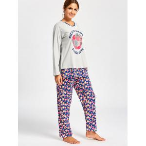 Nursing Nightwear T-shirt with Floral Pants - LIGHT GRAY L