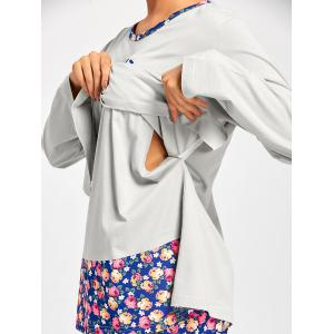 Nursing Nightwear T-shirt with Floral Pants -