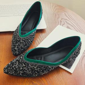 Glitter Satin Slip On Flat Shoes - GREEN 35