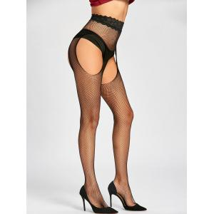 Cut Out Fishnet Lace Trim Tights -