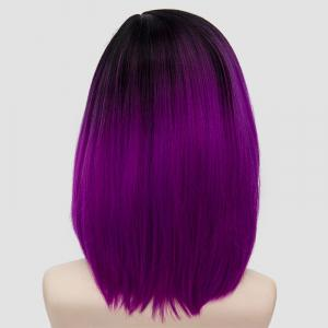 Medium Side Parting Straight Bob Ombre Synthetic Party Wig -