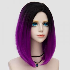 Medium Side Parting Straight Bob Ombre Synthetic Party Wig - BLACK AND PURPLE