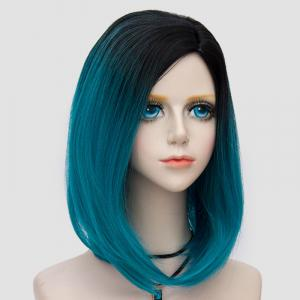Medium Side Parting Straight Bob Ombre Synthetic Party Wig - BLACK AND GREEN