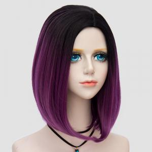 Medium Side Parting Straight Bob Ombre Synthetic Party Wig - DARK VIOLET