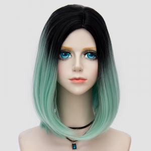 Medium Side Parting Straight Bob Ombre Synthetic Party Wig - LIGHT GREEN
