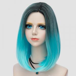 Medium Side Parting Straight Bob Ombre Synthetic Party Wig - WINDSOR BLUE