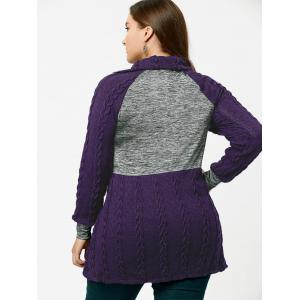Plus Size Pullover Pockets Cable Knit Sweater - PURPLE 5XL