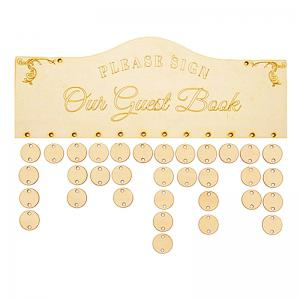 Guest Book Birthday Calendar DIY Wooden Reminder Board - IVORY YELLOW