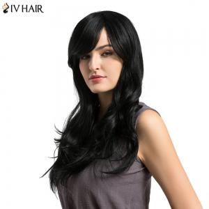 Siv Hair Long Inclined Bang Layered Wavy Human Hair Wig - BLACK