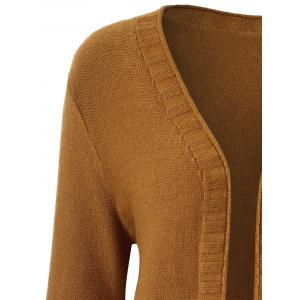 Plus Size Pocket Open Front Cardigan - BROWN 4XL