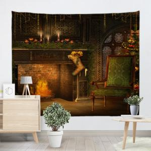 Colormix W91 Inch * L71 Inch Christmas Fireplace Print Wall Decor ...