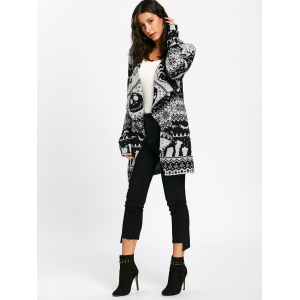 Halloween Skull Knit Tunic Cardigan - WHITE AND BLACK 2XL