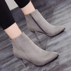Pointed Toe Ankle Stiletto Boots - GRAY 39