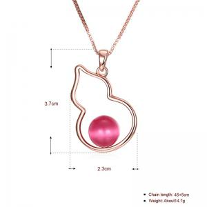 Bead Calabash Collarbone Charm Necklace - ROSE GOLD