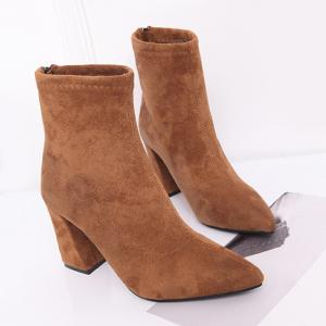 Zipper Faux Suede Pointed Toe Chunky Boots - BROWN 35