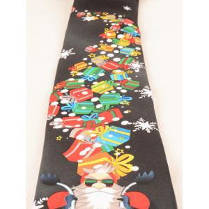Santa Claus Ride a Motorbike with Gifts Printed Tie - BLACK