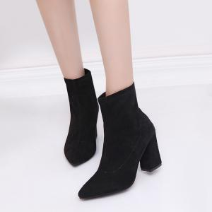 Zipper Faux Suede Pointed Toe Chunky Boots - BLACK 39