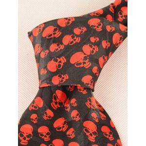 Halloween Full Small Skull Printed Faux Silk Necktie - RED