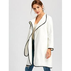 Contrast Knee Length Coat - WHITE XL