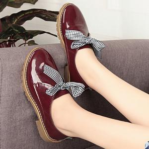 Bowknot Faux Leather Flat Shoes - WINE RED 37