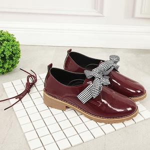 Bowknot Faux Leather Flat Shoes - WINE RED 36