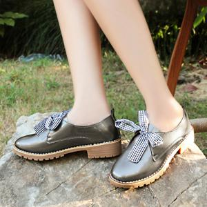 Bowknot Faux Leather Flat Shoes - TAUPE 39