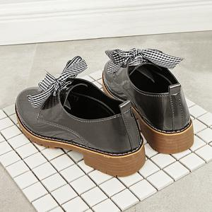 Bowknot Faux Leather Flat Shoes - TAUPE 40