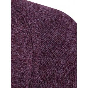 Knit Blends Elbow Patch Sweater - WINE RED 3XL