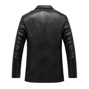Lapel Collar Single Breasted Faux Leather Blazer - BLACK XL