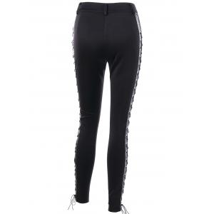 Skinny Lace Up High Waist Pants - BLACK M