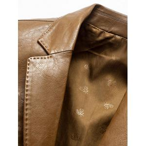 Lapel Collar Single Breasted Faux Leather Blazer - LIGHT BROWN XL