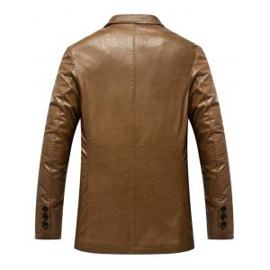 Lapel Collar Single Breasted Faux Leather Blazer - LIGHT BROWN L