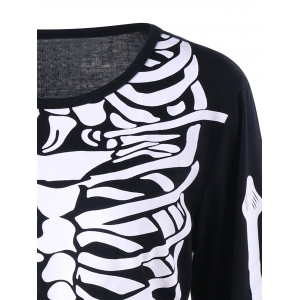 Color Block Long Sleeve Halloween Skeleton Dress - BLACK 2XL
